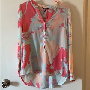 Silky blouse half button up